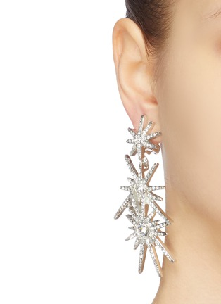Figure View - Click To Enlarge - KENNETH JAY LANE - Glass crystal starburst link drop clip earrings