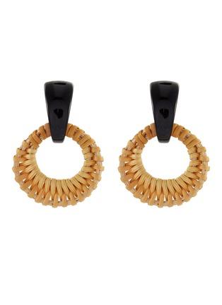 Main View - Click To Enlarge - KENNETH JAY LANE - Rattan hoop earrings
