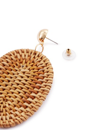 Detail View - Click To Enlarge - KENNETH JAY LANE - Rattan oval drop earrings