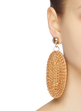 Figure View - Click To Enlarge - KENNETH JAY LANE - Rattan oval drop earrings
