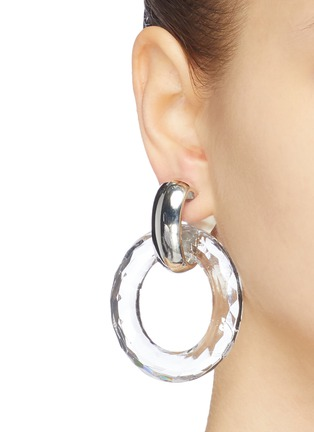 Figure View - Click To Enlarge - KENNETH JAY LANE - Clear hoop clip earrings