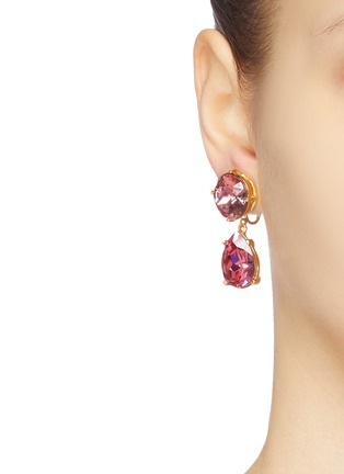 Figure View - Click To Enlarge - KENNETH JAY LANE - Glass crystal teardrop clip earrings