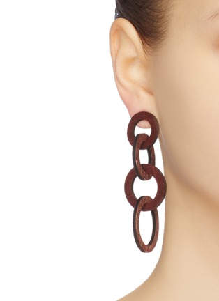 Figure View - Click To Enlarge - KENNETH JAY LANE - Wood circle link drop earrings