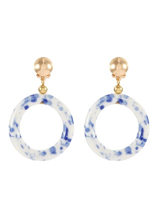 Main View - Click To Enlarge - KENNETH JAY LANE - Ceramic hoop drop clip earrings
