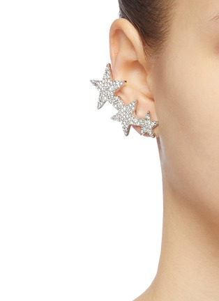 Figure View - Click To Enlarge - KENNETH JAY LANE - Glass crystal star clip earrings