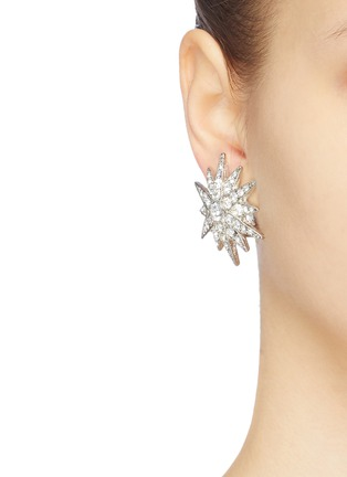 Figure View - Click To Enlarge - KENNETH JAY LANE - Glass crystal starburst stud clip earrings