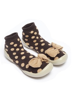 Collégien Bow polka dot toddler sock knit sneakers