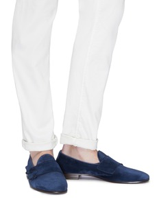 Henderson Double monk strap suede loafers