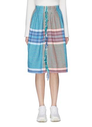 Main View - Click To Enlarge - FFIXXED STUDIOS - Fringe colourblock stripe woven skirt