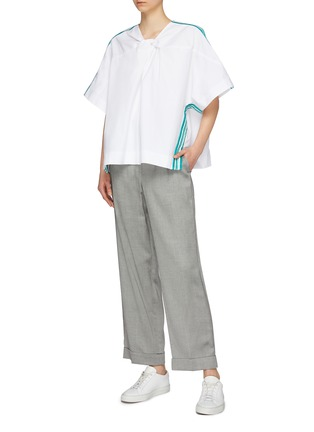 Figure View - Click To Enlarge - FFIXXED STUDIOS - Embroidered stripe border twist front oversized top