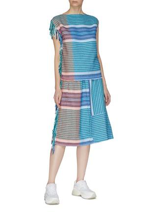 Figure View - Click To Enlarge - FFIXXED STUDIOS - Fringe edge stripe colourblock top