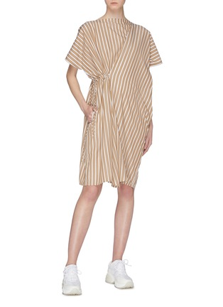 Figure View - Click To Enlarge - FFIXXED STUDIOS - Asymmetric ruched drawstring stripe dress
