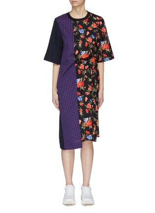 Main View - Click To Enlarge - FFIXXED STUDIOS - Mix print patchwork asymmetric dress