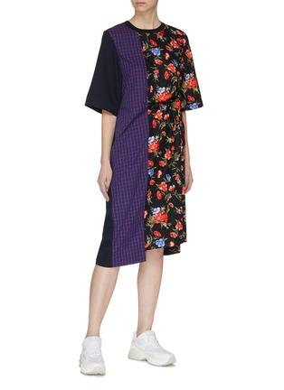 Figure View - Click To Enlarge - FFIXXED STUDIOS - Mix print patchwork asymmetric dress