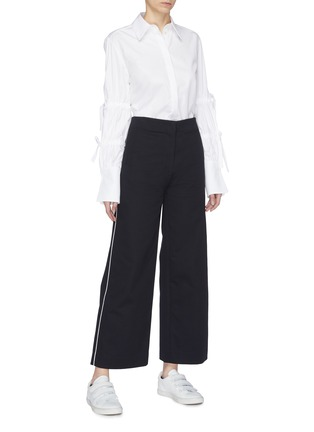 Figure View - Click To Enlarge - FFIXXED STUDIOS - Piped outseam twill flared pants