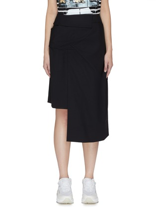 Main View - Click To Enlarge - FFIXXED STUDIOS - Ruched pleated wool asymmetric skirt