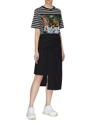Figure View - Click To Enlarge - FFIXXED STUDIOS - Ruched pleated wool asymmetric skirt