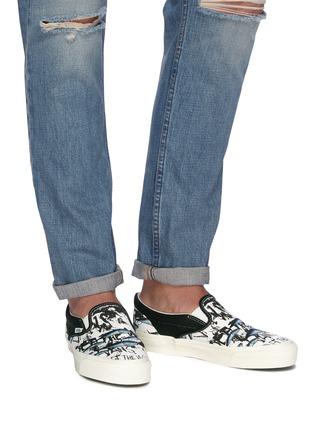 Figure View - Click To Enlarge - Vans - x Ralph Steadman 'Classic Slip-On' blue tuna print canvas skates