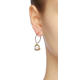 Rosantica 'Vendetta' faux pearl drop small hoop earrings