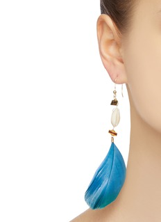 Rosantica 'Viper' bead seashell feather drop earrings
