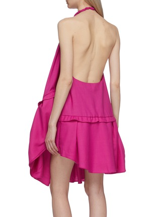 Back View - Click To Enlarge - JACQUEMUS - 'La robe Rosa' asymmetric tiered wool halterneck dress