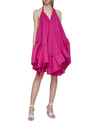 Figure View - Click To Enlarge - JACQUEMUS - 'La robe Rosa' asymmetric tiered wool halterneck dress