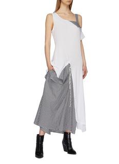 Yohji Yamamoto Asymmetric gingham check panel layered dress