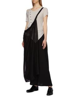 Yohji Yamamoto Cutout shoulder button front ruched T-shirt