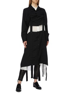 Yohji Yamamoto Detachable strap hem ruched front wool coat