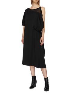 Yohji Yamamoto Asymmetric belted gathered dress