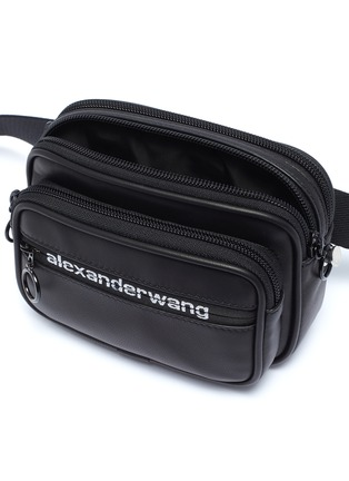 Detail View - Click To Enlarge - ALEXANDERWANG - 'Attica Sport' logo print leather bum bag