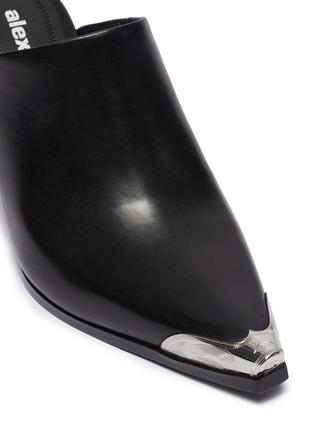 Detail View - Click To Enlarge - ALEXANDERWANG - 'Su' cutout heel metal toecap leather mules