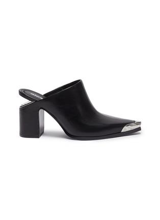 Main View - Click To Enlarge - ALEXANDERWANG - 'Su' cutout heel metal toecap leather mules
