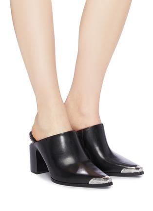 Figure View - Click To Enlarge - ALEXANDERWANG - 'Su' cutout heel metal toecap leather mules