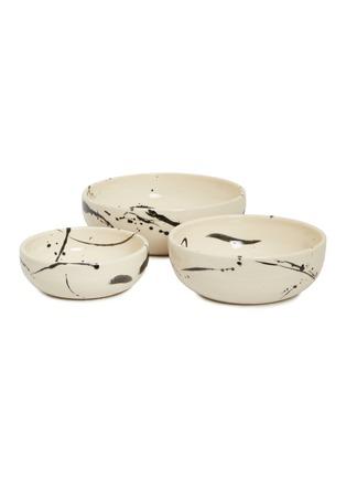 Main View - Click To Enlarge - CHRIS EARL - Nesting serving bowl set – Black Splatter