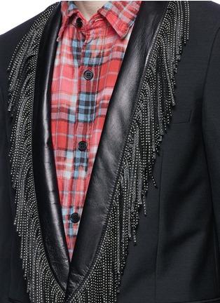 Detail View - Click To Enlarge - SAINT LAURENT - Leather stud fringe lapel Mohair-wool blazer