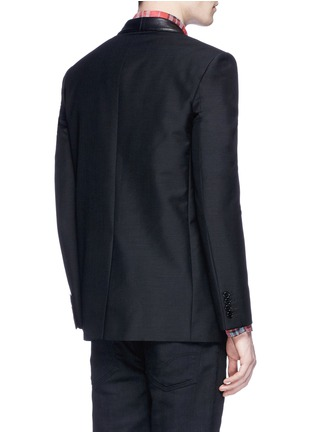 Back View - Click To Enlarge - SAINT LAURENT - Leather stud fringe lapel Mohair-wool blazer