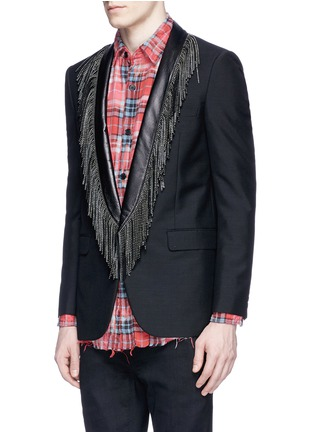 Front View - Click To Enlarge - SAINT LAURENT - Leather stud fringe lapel Mohair-wool blazer