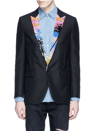 Main View - Click To Enlarge - SAINT LAURENT - Palm tree sequin wool-Mohair blazer