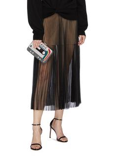 Judith Leiber Glass crystal pavé tape recorder minaudière