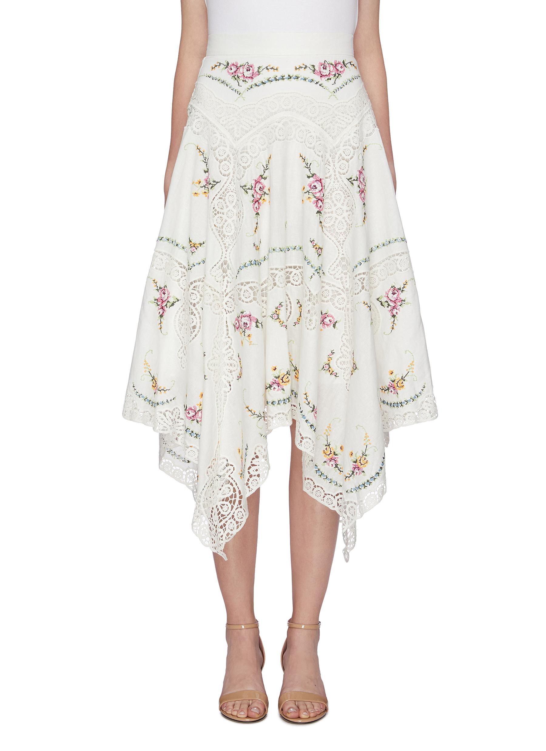 Allia crochet lace trim floral embroidered handkerchief skirt by Zimmermann