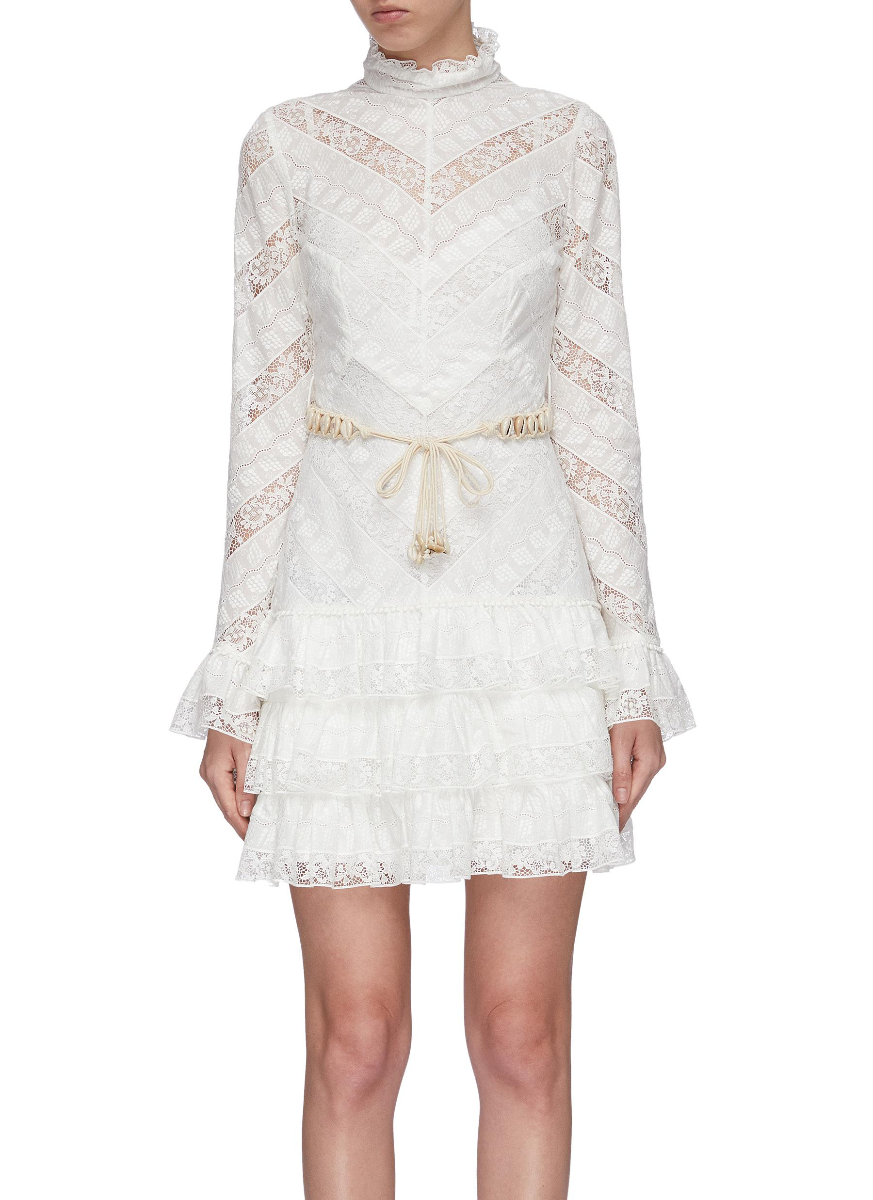 Veneto Perennial chevron lace panel ruffle tiered dress by Zimmermann