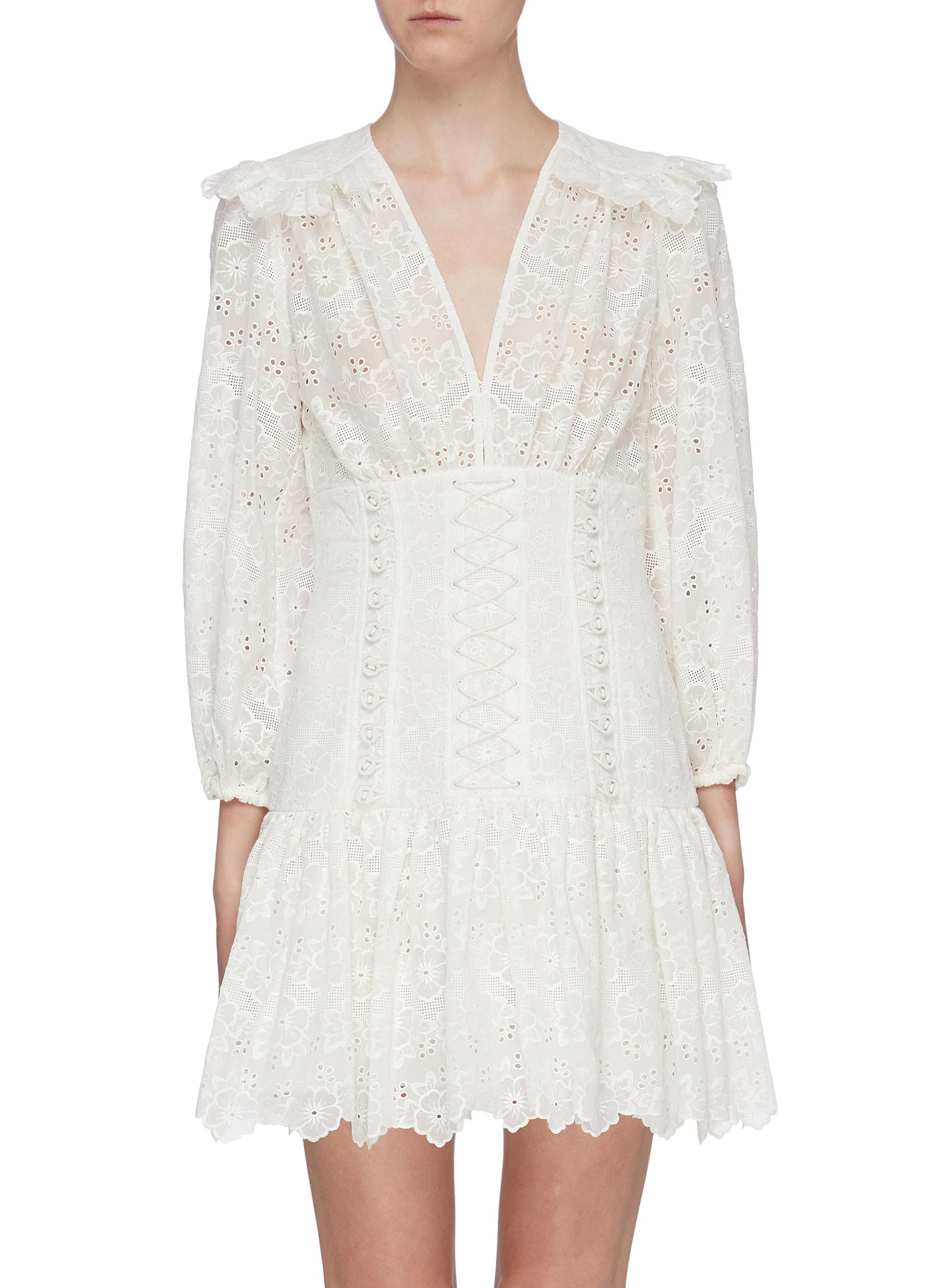 Honour ruffle yoke floral broderie anglaise corset dress by Zimmermann
