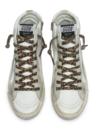 Detail View - Click To Enlarge - GOLDEN GOOSE - Leopard print lace-up hair trim mid top sneakers