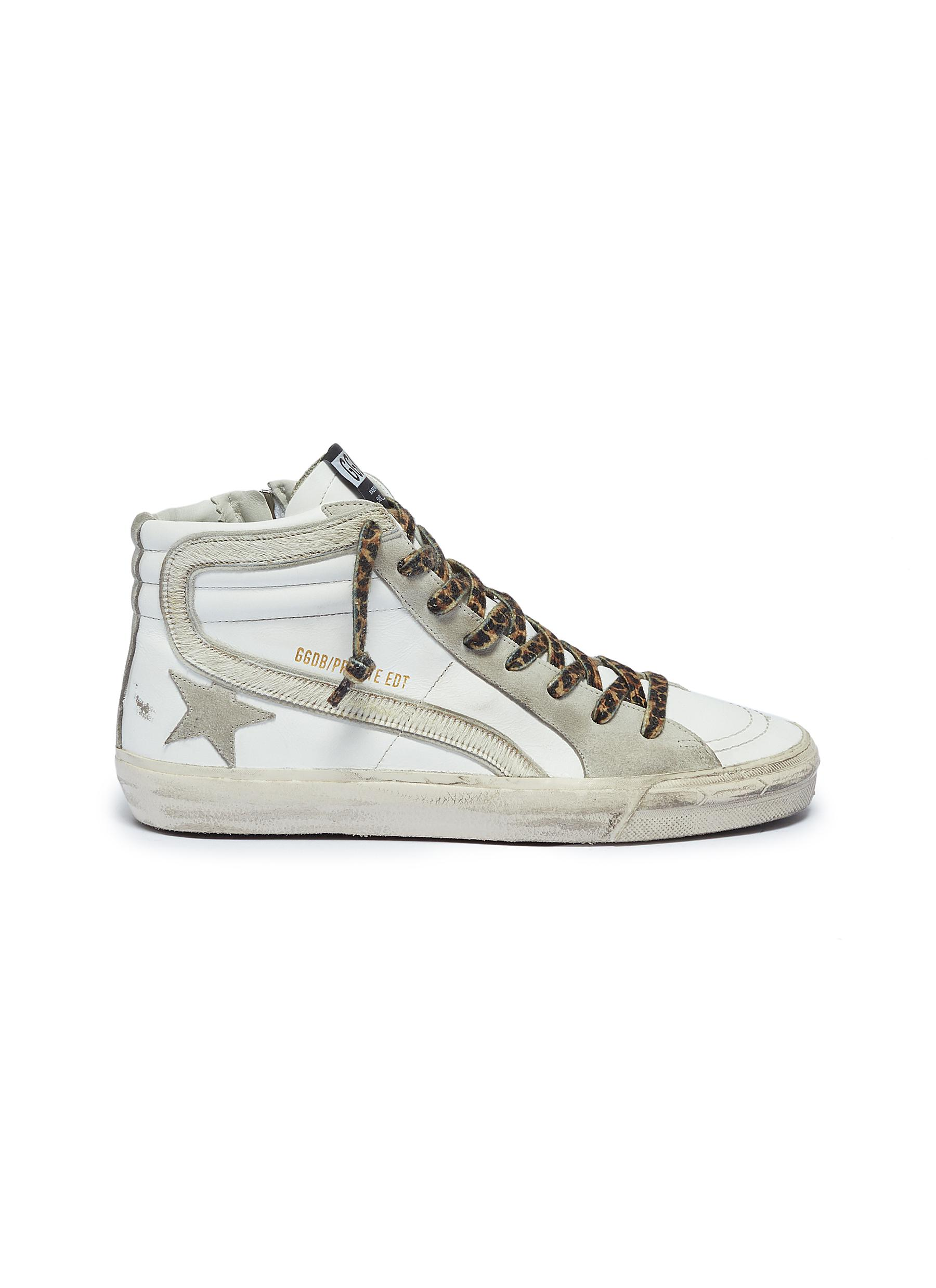 Leopard print lace-up hair trim mid top sneakers by Golden Goose