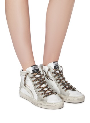 Figure View - Click To Enlarge - GOLDEN GOOSE - Leopard print lace-up hair trim mid top sneakers
