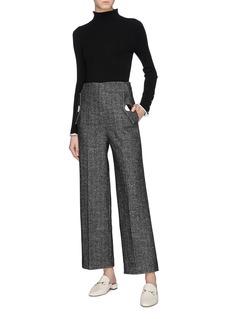 COMME MOI Contrast edge button cuff rib knit sweater