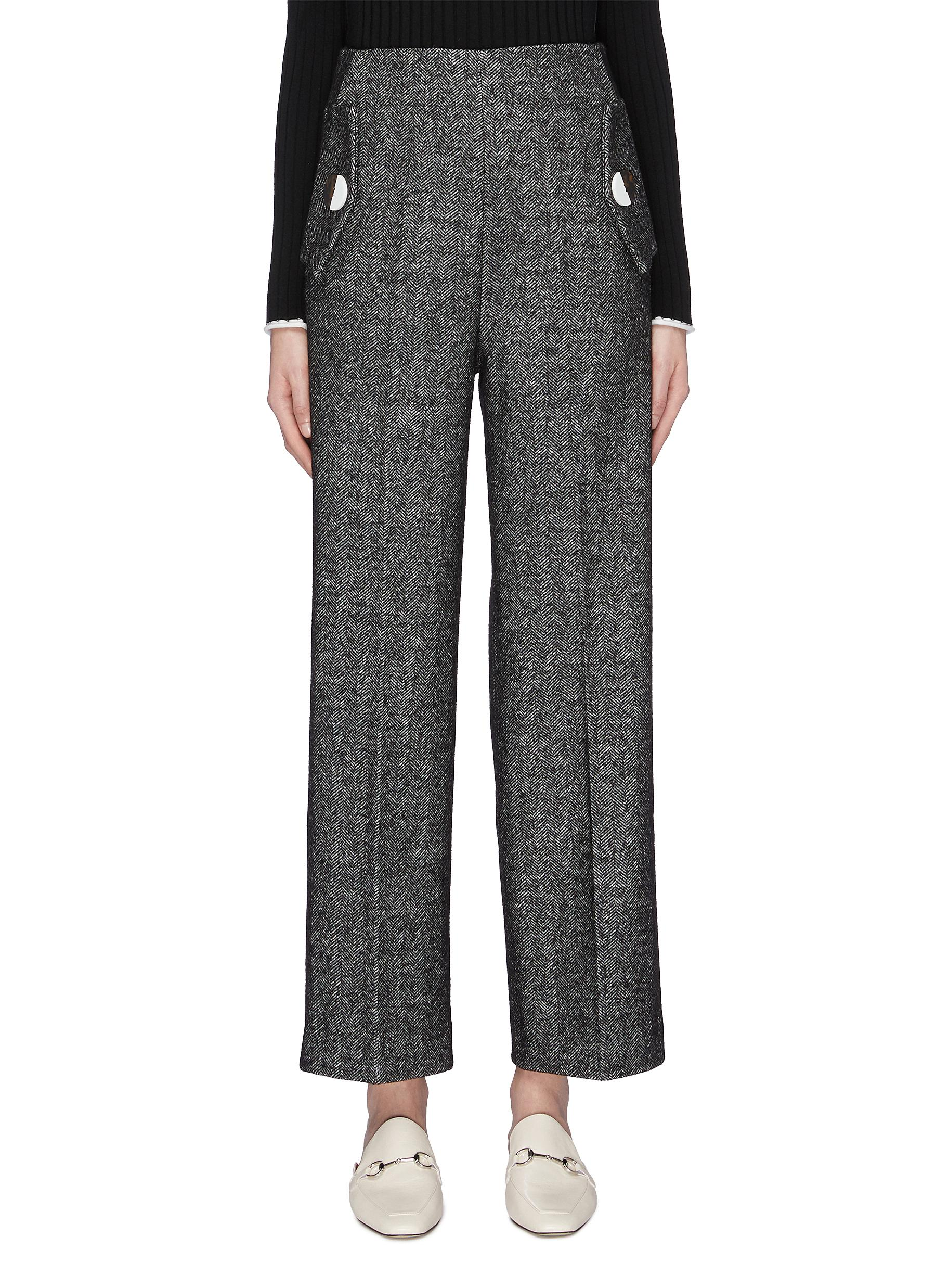 Button flap pocket herringbone pants by Comme Moi