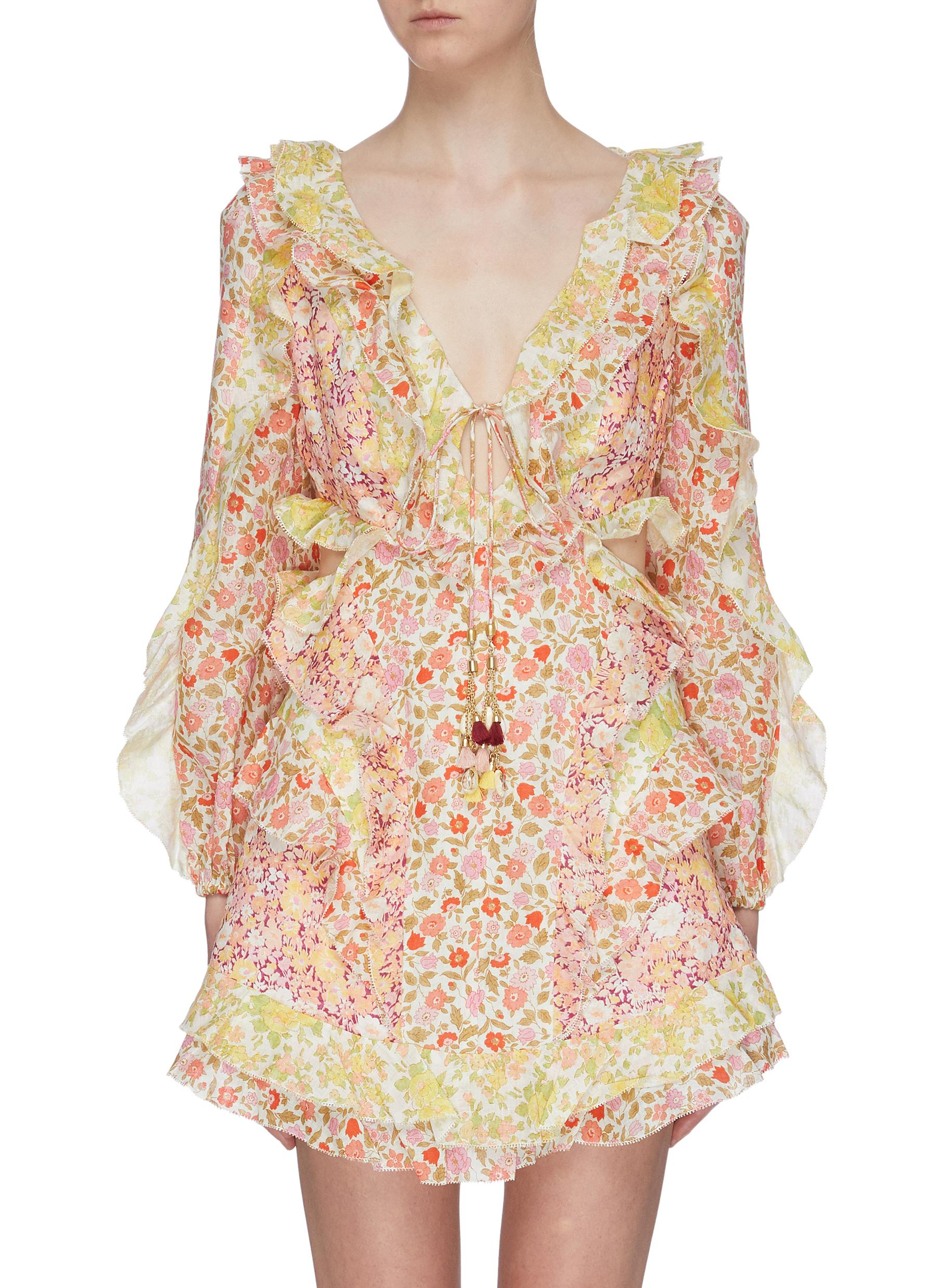 Goldie cutout side ruffle patchwork floral print linen dress by Zimmermann