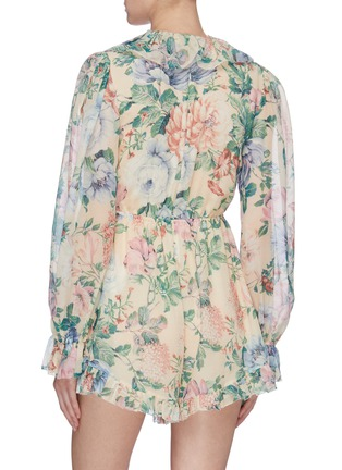 Back View - Click To Enlarge - ZIMMERMANN - 'Verity' ruffle drawstring floral print chiffon rompers